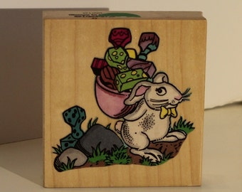 Easter Bunny with a bag of Rubber Stamp
