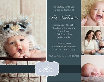 Dedication Invitation or Thank you card YOU PRINT 4x6 or 5x7