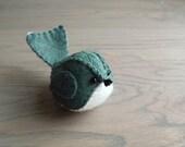 Embroidered Handmade Felt Bird in Spruce Blue Green Teal