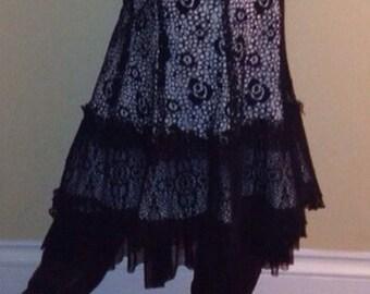Black bohemian lace skirt