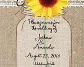 Mason Jar with Sunflower Invitation 5x7