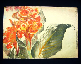 Vintage Japanese Print - Vintage Print - Magazine Cut Out -  Flower Print - Vintage Magazine Insert - Canna Indica