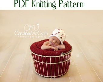 Baby Baseball Hat pattern, knit, Boston Beanies