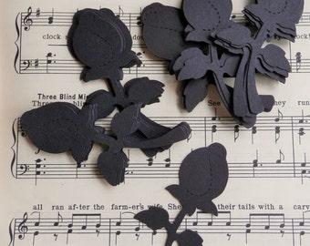 black rose card stock - die cut - set of 25