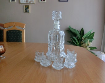 Retro Congac Decanter with shut glasses 7pc 1970s East Germany DDR Best Condition