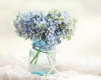 Hydrangea photograph,shabby chic decor, Fine art print,pastel photograph,floral print,blue,mason jar,still life,square print