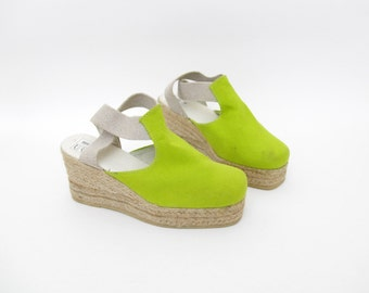 Vintage shoes / green platform wedge espadrilles / size 36-6