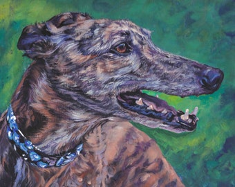 Greyhound dog portrait art CANVAS print of LA Shepard painting 11x14
