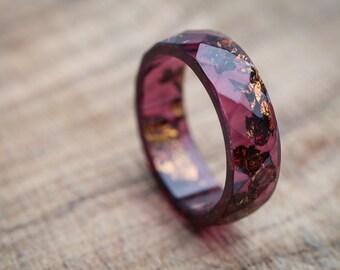 Deep Purple Resin Ring Men Ring Copper Gold Flakes Big size 10 Faceted Ring OOAK dark burgundy acai geometric jewelry