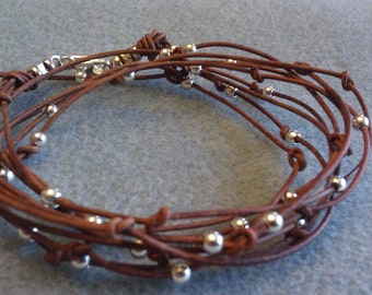 SALE  Everyday Light Brown Leather Wrap Bracelet