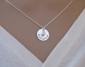 godmother necklace - Custom name necklace - DAINTY sterling silver necklace with pearl or birthstone gemstone - Photo NOT actual size