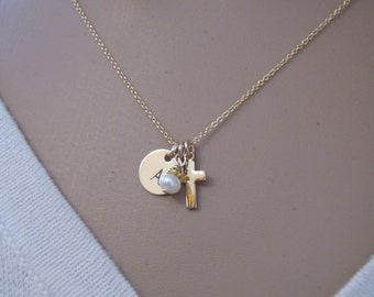 Private Listing for intial and cross necklace without the birthstone - Photo NOT actual size