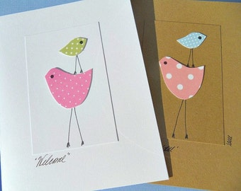 Welcome Baby - Congratulations on Baby Card - Baby Shower Card - Baby Chick Cards - New Baby Cards - Polka dot cards - MBPC
