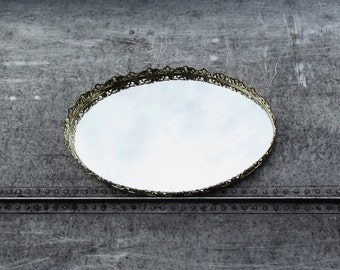 Vintage Vanity Mirror, Oval Mirror, Display Mirror, Cottage Decor, Mirrored Tray