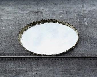 Vintage Vanity Mirror, Oval Mirror, Display Mirror, Cottage Decor, Mirrored Tray