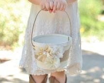 Rustic Flower Girl Basket Vintage Inspired Wedding Burlap Lace Rosettes Pearls (Item Number MHD20001)