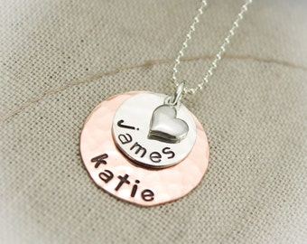 Two Layer NECKLACE Sterling Silver and Copper Hand Stamped Personalized Mommy Gift Hand Stamped Jewelry