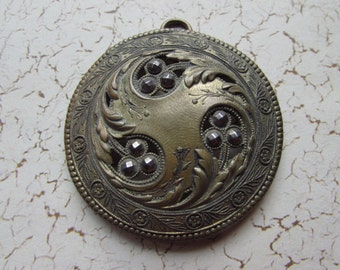 Lovely Vintage Marcasite Medallion or Pendant - Art Nouveau in Design