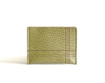 "Minimalist Men's Wallet / Card Case : Green Vegan Leather w/ Espresso Brown Grid Stitching - ""Off the Grid"""
