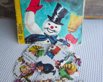 Scalloped Round Die Cuts Frosty the Snowman from 1972 Vintage Children's Book