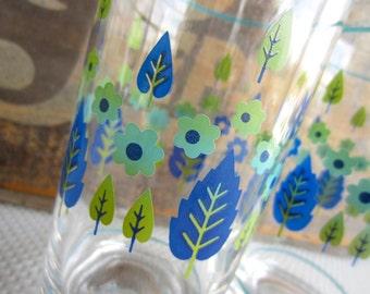 Vintage Mid Century Alpine Swiss Marcrest Tumbler Glasses Blue Green Flowers Leaves