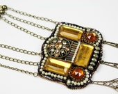 Beadwork Necklace Vintage Style Antique Brass Chain Beaded Jewelry Repurposed Upcycled 'The Diva'