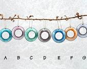 Colors of white enamel earrings - blue, green, orange, pink, purple, handmade, funky, kinetic, unique, copper, kiln fired enamel