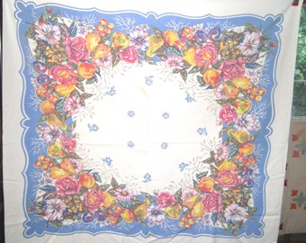 1950s PRINT KITCHEN TABLECLOTH - Summer Flowers & Fruit