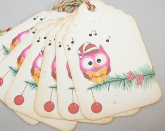 Tags Christmas Owl on Christmas Tree Gift Tag Christmas Gift Tag - T204