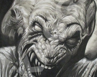Pumpkinhead print of original charcoal drawing