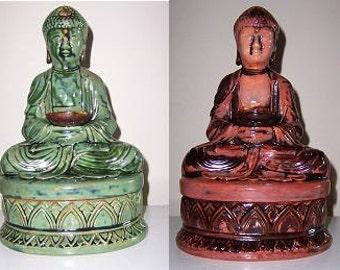 Meditating Buddha Incense Burner/Smoker on Lotus Blossom Dish