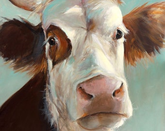 Cow Painting - Beatrice - Paper or Canvas Giclee Print