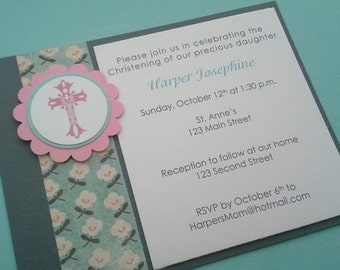 Christening Invitations, Baptism Invitations, Religious Celebration Invitations, Cross Invitations, Communion Invitations - Set of 8