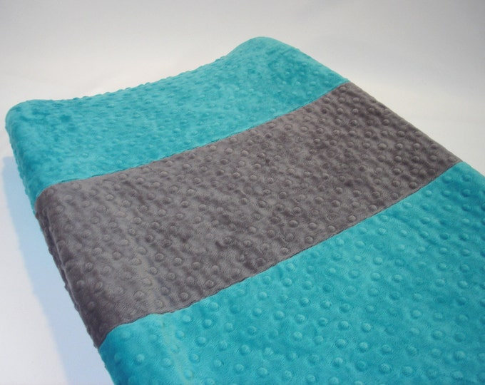 Azure Teal Blue Changing Pad Cover with Stripe