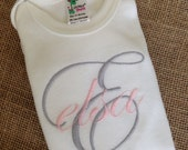 personalized GIRL scripted onesie, INITIAL and NAME, short sleeve