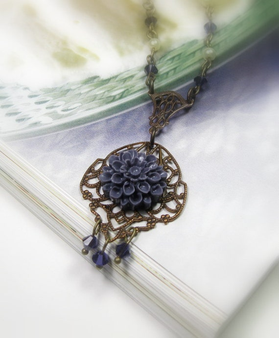 Vintage Style Flower Necklace, Victorian Style Jewelry, Purple, Swarovski Crystal, Vintaj Brass, Periwinkle, Stocking Stuffers, Under 50