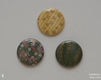Sakura Flower pattern Origami Button / Magnet Set of 3  - Green