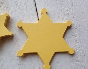 Sheriff Badge Die Cut Choice of Size Cupcake Topper Straws Party