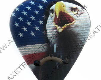 Axetreme Pick Guitar Wall Hanger-String Swing Hanger Included-American Flag/USA Flag Carbon Fiber Look-Music Room Guitar Room Made in USA