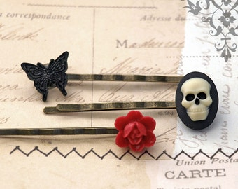 Skull Butterfly and Rose Bobby Pins, Gothic Hair Pins, Goth Black and Red Hair Accessories