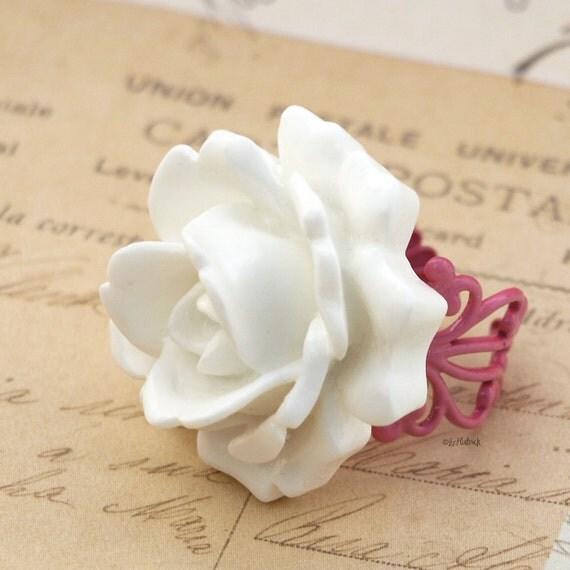 White Rose Ring, Statement Ring, True Love Big Rose Ring