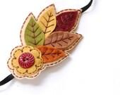 Embroidered Leaves Headband