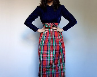 1960s Holiday Dress Maxi Dress Red Blue Tartan Plaid Long 60s Party Dress Winter - Extra Small XXS XS