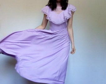 Purple Lavender Dress 70s Summer Maxi Dress Long Boho Dress Ruffle Lace Pastel - Small S