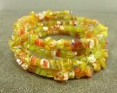 Flower Power Orange Millefiori Glass Chip Coil Memory Wire Bracelet