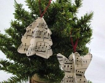 Vintage sheet music ornament angel tree