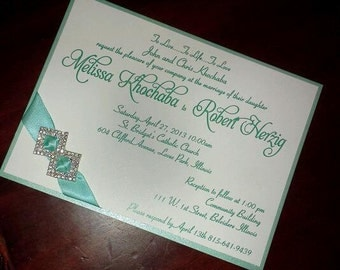 Light Blue and White Elegant Buckled and Ribbon Wedding Invitation