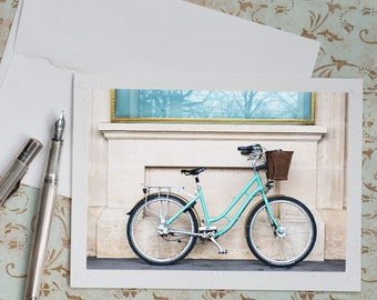 Paris Photo Notecard - Blue Bicycle in Paris Photo Notecard, Stationery, Blank Notecard