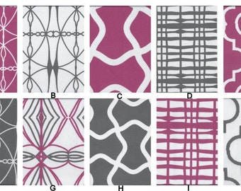 YOU DESIGN Custom 2 piece Crib Bedding Set - Bumper and Skirt - High End Organic Fabric Radiant Orchid, White, Gray / Grey
