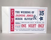 Theater Ticket Wedding Save the Date - Cinema Movie themed wedding
